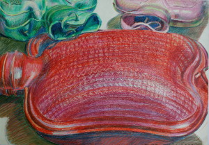 From the series '' Wärmende Flaschen'', 1995, wax pastel, crayon on paper, 42,5x60cm